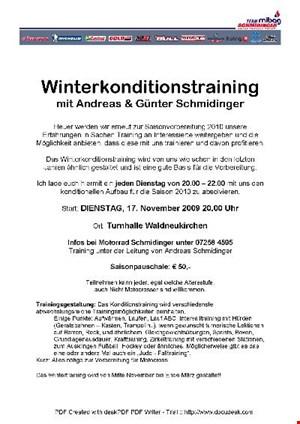 Winterkonditionstraining Turnhalle Waldneukirchen jeden Dienstag ab 17.11.!
